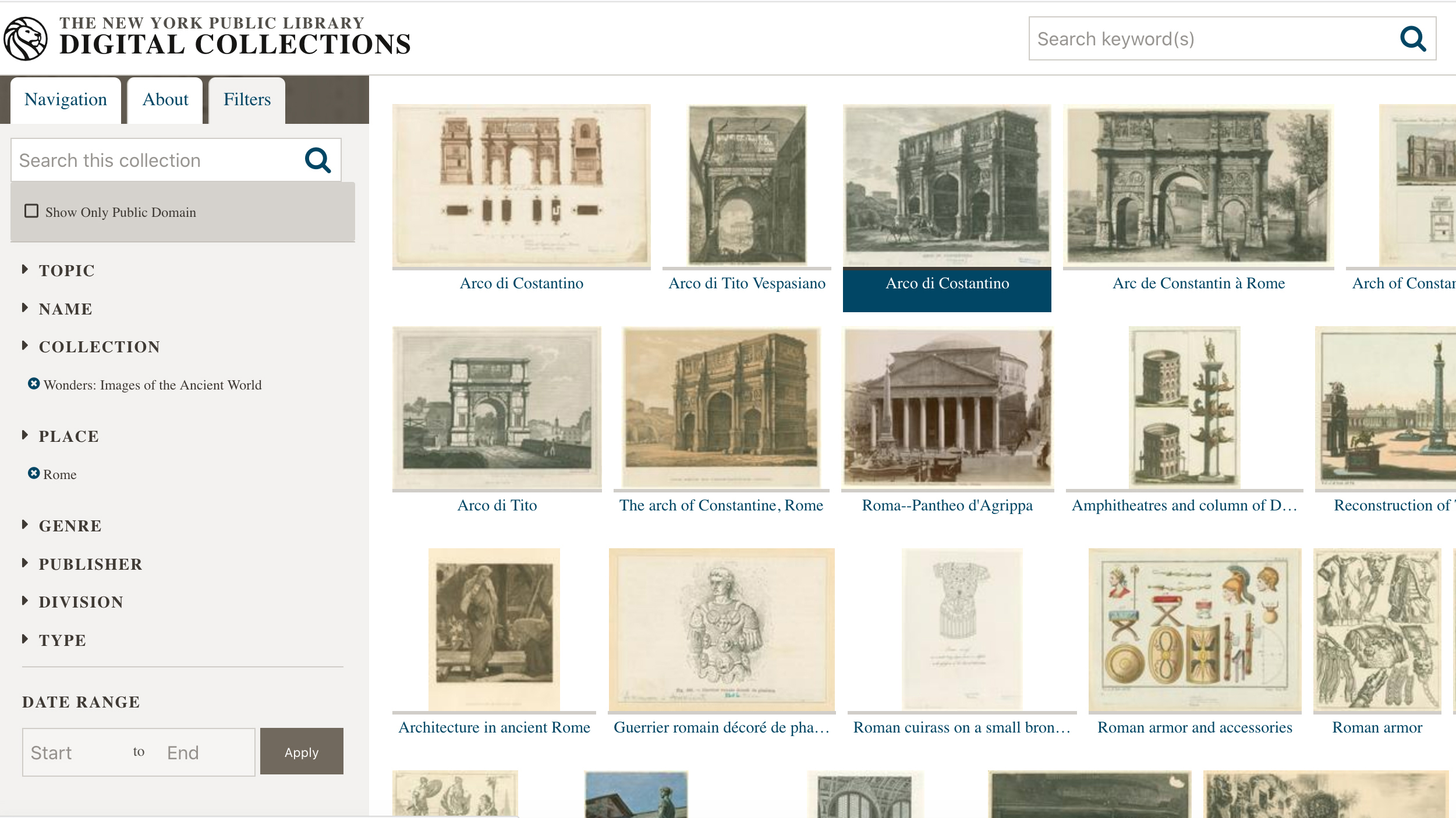 Screen capture of the New York Public Library database, Wonders: Images of the Ancient World, showing thumbnail images of digizited two-dimensional graphics